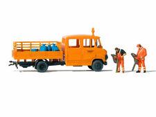 Preiser 33262 Straßenmeisterei MB L 407 D mit 2 Arbeiter Laubsauger H0 Neu