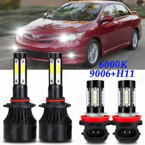 For Toyota Corolla 2009-2013 Combo LED Headlight Low Beam Fog Light Bulbs Kit
