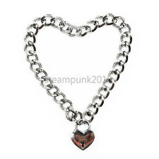 Stainless steel Heart shape Slave Restraint Chain lockable Necklace Collar Choke