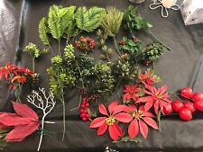 60pc Vintage Artificial Pieces For Floral Arrangements Various Christmas Pieces