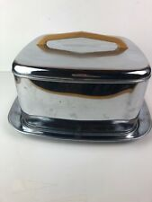 Vintage Mid Century MCM Chrome Square Cake Lincoln Beautyware Covered Plate