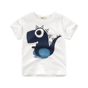 T-Shirt Girls Short Sleeves Tee Boys Collarless Top 100% Cotton Cartoon Dino ^