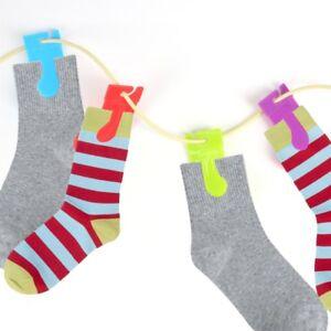 8Pc SOCK CLIP SET Pair Organiser Laundry Drying Hanging Pegs Sorter Washing Line