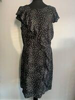 Wallis | Speckled Spot Frill Fit & Flare Dress | UK 14 | BNWT