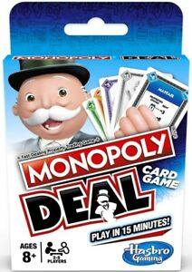 MONOPOLY DEAL CARD GAME TRADING GAME FAMILY TRAVEL PLAY IN 15 MINUTES UK VERSION