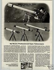 """1959 PAPER AD Hy-Score Telescope 3"""" Equatorial Refractor Hertel Reuss Binoculars"""