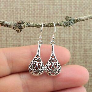 Filigree Teardrop 925 Sterling Silver Drop Earrings