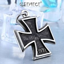 316L Stainless Steel old style iron cross Pendant Necklace Unqiue Chain for man
