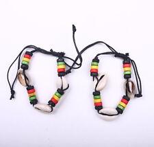 2PC Rasta Shell Stripe Beaded Band Bracelet Wrist Bracelet