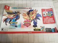 Pokemon Sword & Shield Window Cling Promo Display Sign 24x12 Nintendo Switch