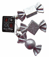 Christmas Tree Baubles Silver (Hint of Pink) Sweet Candy Ornaments 3 Decorations