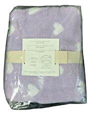 Pottery Barn Kids Heart Jacquard Hooded Towel Bath Wrap Purple 50x25
