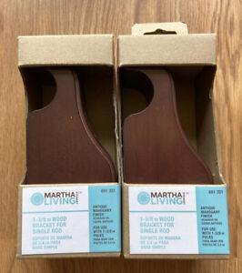 Martha Stewart Living 1-3/8 Wood Bracket Single Rod Antique Mahogany NEW 691 351