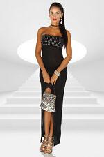 Langes Abendkleid - Maxi Kleid mit Strass Steinen schwarz - Gr. XS-M