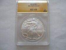 2010 silver eagle ms 69  anacs certified lot of 3 coins