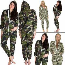 Mens Womens Onsie1 Army Camouflage One Piece Hooded Jumpsuit Nightwear Pyjamas