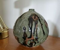 "Vtg Mid Century Modern Drip Glaze Art Pottery Vase Signed T Harvell 1976 * 6.5"""