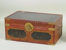 Antique Chinese Bamboo Chest, Gold and Black Painted