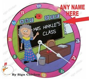 Personalized Custom Name Design, Wall Clock, TEACHER, WOMAN, CLASS ROOM, SCHOOL