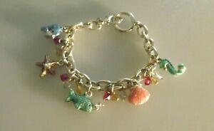 Sea / Ocean Life - Silvertone & Enamel Charm Bracelet - Great Condition