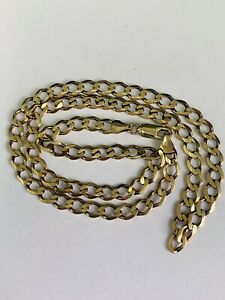 FINE 9CT YELLOW GOLD SOLID CURB LINKED CHAIN NECKLET - 18 INCHES