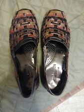 Nordstrom Huarache Loafers, Hand Woven Brown Leather, Mens Shoes Size 8, #2051