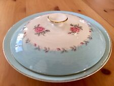 Arklow pottery  Glendalough pattern,large dish and lid blue with roses Vintage