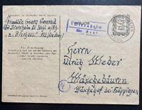 1946 Bodersweier Germany Allied occupation Postcard Cover To Waschebauren