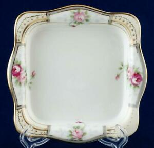 Nippon Square Ice Cream Dish Trinket Tray Hand Painted Roses Flowers