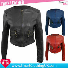 Faux Leather Patternless Biker Jackets for Women
