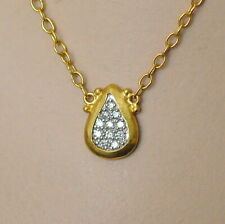 Gurhan 24K Yellow Gold Diamond Small Teardrop Pendant Necklace New $2980 Sale