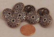 """8 Antiqued Silver Tone Black Accent Metal Buttons Pierced 11/16"""" 18MM  # 6020"""