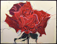 """Sally Anderson """"Rose"""" Hand Signed Original Lithograph Art red rose MAKE OFFER"""