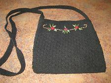 Vintage Cotton & Embroidered Black Shoulder Bag Satin Lined