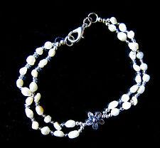 "Freshwater pearl Bracelet 8"" long double strand 4 mm pearls new"