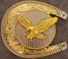 OVERSIZED 2 tone metal belt buckle Horseshoe Eagle in Flight NEW
