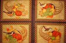 Debbie Mumm Great Harvest Cornucopia Fruit Bird Autumn Fabric Placemats PANEL