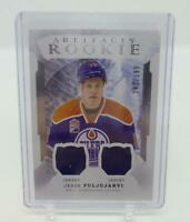 2016-17 UD Artifacts Rookie Jesse Puljujarvi Dual Jersey 142 /399 Hockey Card