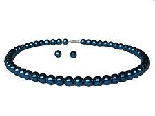 Dark Royal Blue Pearls Choker Necklace Studs Earrings Costume Jewellery Set S888