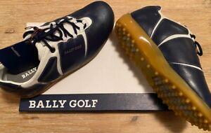 Herren Golfschuhe Bally Corso Marine Creme Leder Schuh 40,5 Posten Lagerverkauf