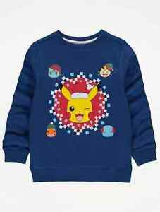 Pokemon Pikachu Christmas Blue Long Sleeve Jumper Sweatshirt Age 9-10 Years NEW