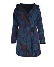 Women's Long Sleeve Cotton Jacket Mandala Pattern Ladies Trench Coat