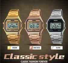 Mens Vintage Classic Stainless Steel Watch Digital 3 ATM Waterproof Wristwatch