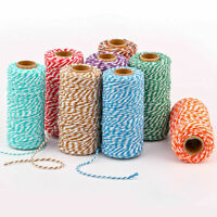 Cotton Rope Twine Crafts String Gift Wrap Tags Ribbon Colorful 2mm*100m DIY