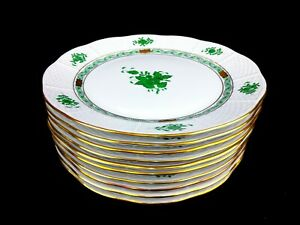 Herend Chinese Bouquet Green Dinner Plates