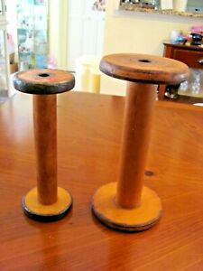 """2 ANTIQUE INDUSTRIAL MERCANTILE WOOD SEWING MILL SPOOL TEXTILE 10 1/2"""" & 9 1/4"""""""