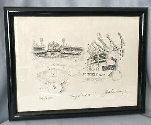 Chicago White Sox MLB Comiskey Park Signed Jack Simmerling 323/2000 Vintage Art