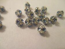 35 Swarovski Crystal Silver Plated 4 mm Aqua Blue Bead Balls  SJ7
