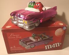 2003 M&M's Metallic Pink Cadillac Convertible Car Ceramic Candy Dish Red Green !