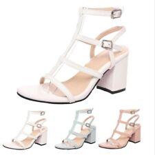 Roman Women's Peep Toe Buckle Strap Gladiator Mid Heel OL Dress Sandals 34/46 D